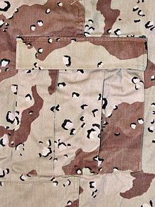official photos 2271b b0a33 Six-Color Desert Pattern.jpg. Closeup of Desert Battle Dress Uniform  (DBDU). Type, Military camouflage pattern