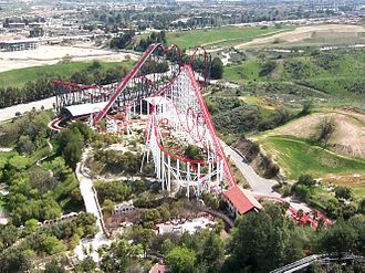 Six Flags Magic Mountain - Viper, seen in the foreground, was constructed in the park in 1990