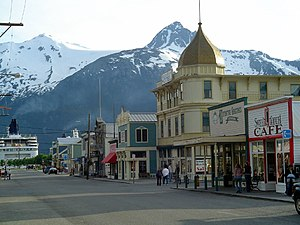 A photo of a part of the Skagway city in Alaska.