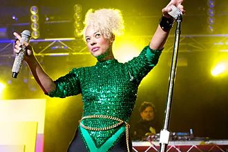 Sneaky Sound System - Mitchell and Angus (in background and partly obscured) performing, July 2011.