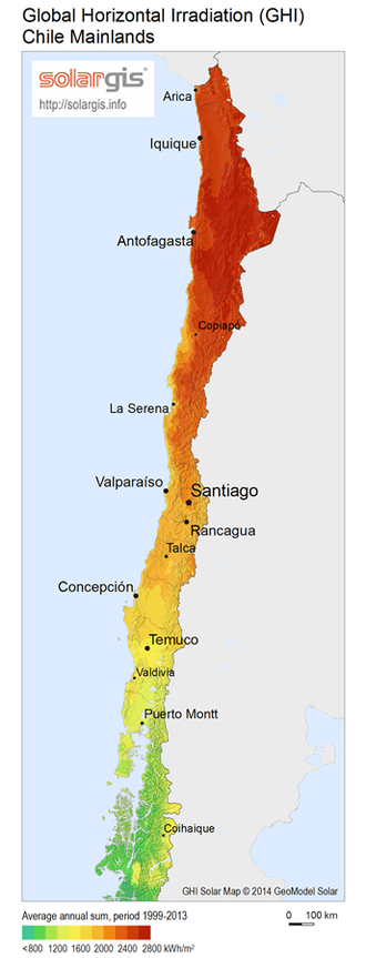 Renewable energy in Chile - Solar radiation map of Chile