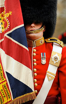 Soldier from No7 Company Coldstream Guards With Regimental Colours MOD 45152569.jpg