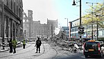 Soldier on Bridge Street, Belfast Blitz merge (33719058373).jpg