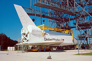 Space Shuttle Pathfinder - Pathfinder on the mate-demate device at the Shuttle Landing Facility.