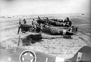 Yugoslav Air Force - Spitfires of the No 352 (Y) Squadron British Royal Air Force (Balkan Air Force) before first mission on August 18, 1944, from Canne, Italy