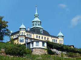 Spitzhaus above the vineyards of Radebeul