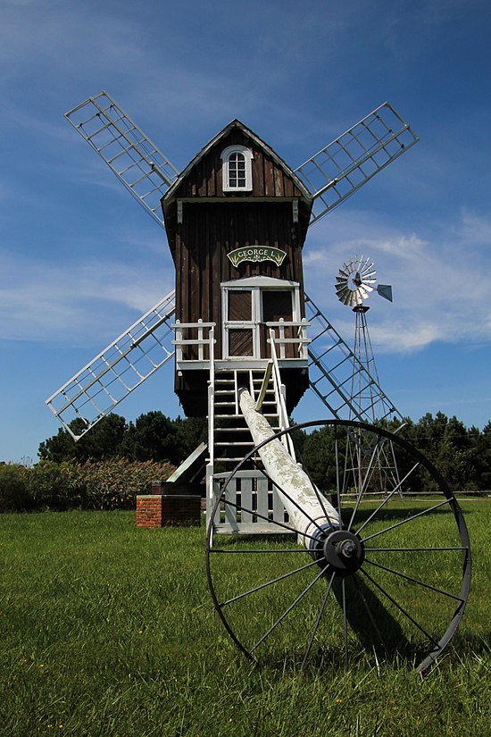The Spocott Windmill, built in 1972 as a reconstruction of an original 1852 windmill that blew down in a blizzard in 1888.