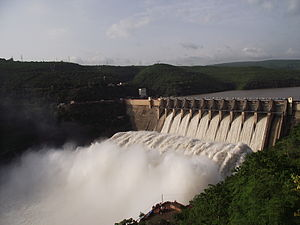 Srisailam Dam - Srisailam Dam view from left bank, Telangana