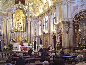 Santo António Church - Interior viewed toward the main altarpiece.