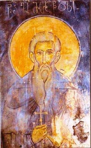George the Hagiorite - St. George of Athos. A 13th-century fresco with Georgian inscriptions from the Akhtala monastery