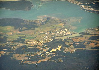 St Helens, Tasmania - aerial view from west