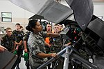 Staff Sgt. Jenelle Rodriguez show propeller to Ohio CAP cadets.JPG