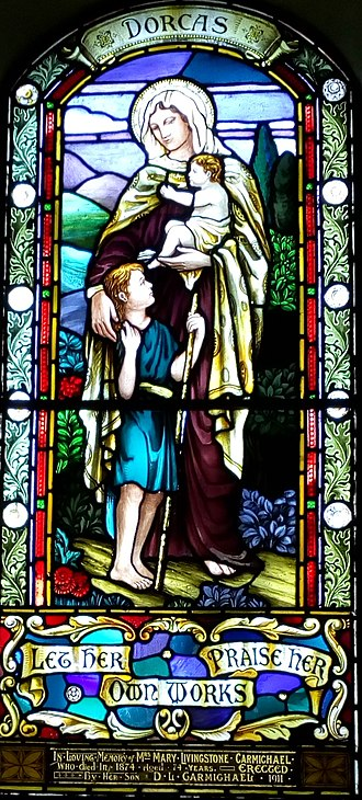 St Moluag's Cathedral, Lismore - Stained glass of Dorcas within the church