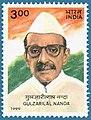 Stamp of India - 1999 - Colnect 161703 - Gulzarilal Nanda - Birth Centenary.jpeg