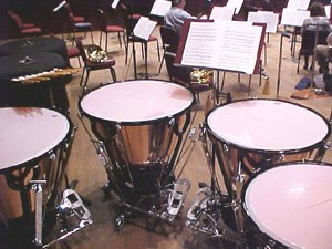 Percussion section - A standard set of four timpani