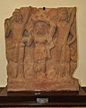 Standing Goddess Sashti Between Two Warriors Skanda and Visakha - Circa 2nd Century CE - ACCN 00-F-13 - Government Museum - Mathura 2013-02-23 5789.JPG