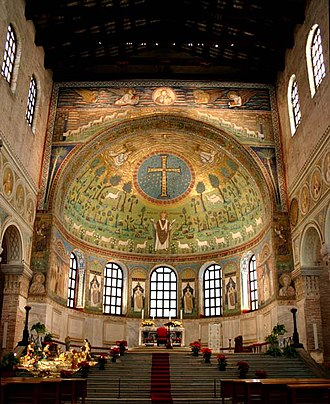 Semi-dome - Typical Early Christian/Byzantine apse with a hemispherical semi-dome decorated in mosaic (Basilica di Sant'Apollinare in Classe in Ravenna).