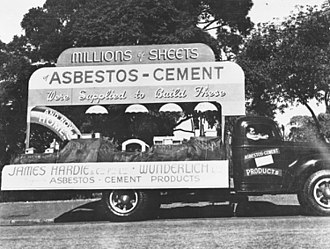 Asbestos cement - StateLibQld 2 152895 James Hardie and Wunderlich float ready for the Victory Day procession in Brisbane, 1946