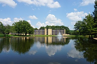 Stephen F. Austin State University - A fountain flows in the SFA Ag Pond