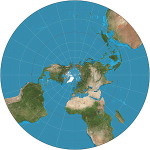 Stereographic projection - Stereographic projection of the world north of 30°S. 15° graticule.