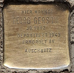 Photo of Georg Gerson brass plaque
