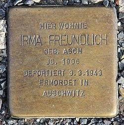 Photo of Irma Freundlich brass plaque