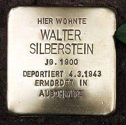 Photo of Walter Silberstein brass plaque