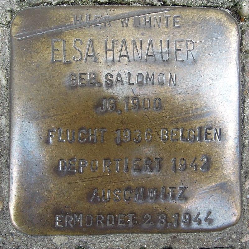 Stolperstein Lingen Gymnasialstraße 1 Elsa Hanauer.jpg