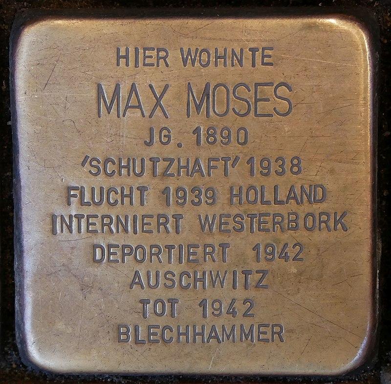 Stolperstein Neustr 35 Dinslaken Moses Max