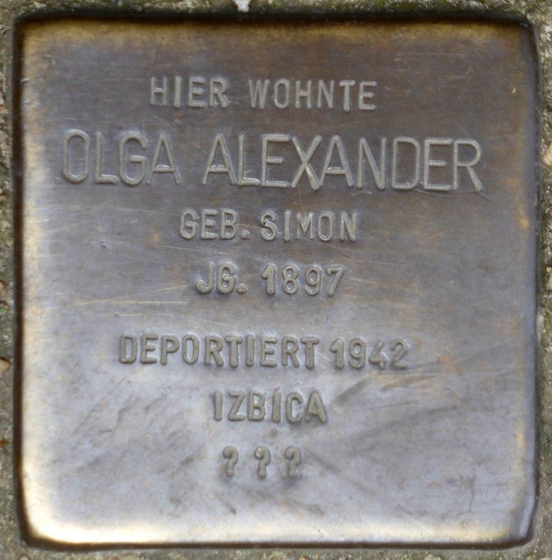 Stolperstein für Olga Alexander (Rheinbabenstraße 106)