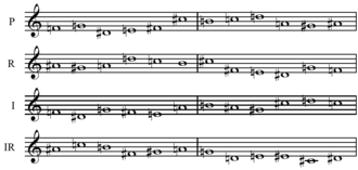 Requiem Canticles - Basic row forms from Stravinsky's Requiem Canticles: P R I IR