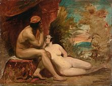 Two nude figures in a crudely painted landscape