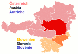 Territory of the former Styrian duchy, superimposed on the modern borders of Austria and Slovenia