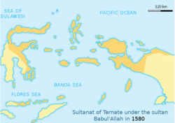 Greatest extent of the Sultanate of Ternate