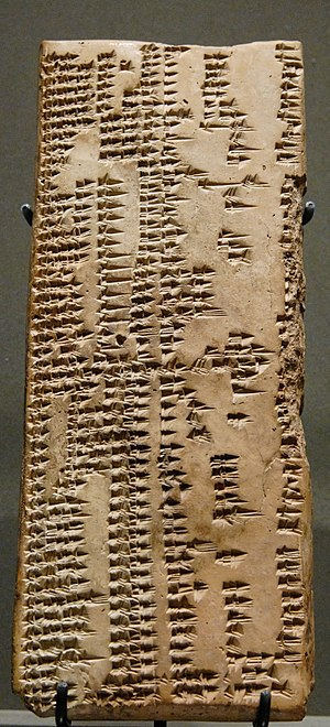 Lexical lists - 16th tablet of the Urra=hubullu lexical series, Louvre Museum