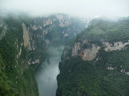 View of the Sumidero Canyon from atop the ridge Sumideroclouds.jpg