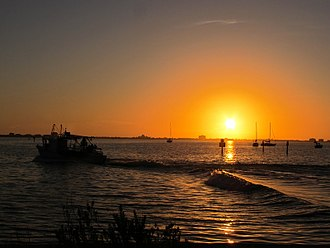 Gulfport, Florida - A December sunset from Clam Bayou Park looking over Boca Ciega Bay