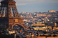 Sunset over the base of the Eiffel, Paris 2007.jpg