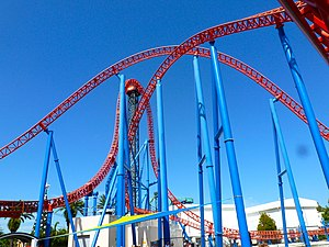 Superman Escape - An overview of Superman Escape from inside the ride's footprint.