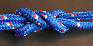 Surgeon's knot - A surgeon's knot tied in nylon rope and tightened