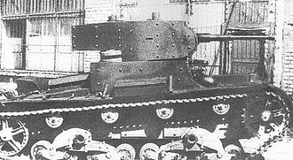 Battle of Uman - T-26 tank; this light-armored tank was a development of the British Vickers 6-Ton tank and at the summer of 1941 it was the most wide-spread Soviet tank. The 18th Mechanized Corps had 308 T-26 out of a total of 457 tanks and had no KV and T-34 at all.