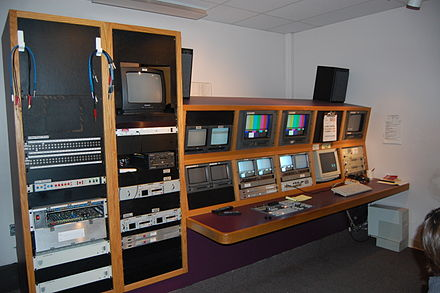 A television studio production control room in Olympia, Washington, August 2008. TV Station Control Room.JPG