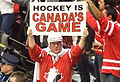 Team Canada fan at women's ice hockey gold medal game - US vs. Canada at 2010 Winter Olympics 2010-02-25.jpg