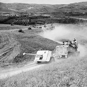 Anti-tank warfare - A British 17-pounder anti-tank gun and half-track of the 87th (Devonshire Regiment) Anti-Tank Regiment approaches the River Foglia, Italy, 1 September 1944.