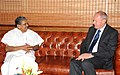 The British Immigration Minister, Mr. Damian Green calls on the Union Minister for Overseas Indian Affairs, Shri Vayalar Ravi, in New Delhi on August 25, 2010.jpg