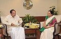 The Chief Minister of Gujarat, Smt. Anandiben Patel meeting the Union Minister for Urban Development, Housing and Urban Poverty Alleviation and Parliamentary Affairs, Shri M. Venkaiah Naidu, in New Delhi on June 10, 2014.jpg
