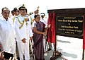 The Chief Minister of Gujarat, Smt. Anandiben Patel unveiling the plaque to inaugurate the commissioning ceremony of INS Sardar Patel, in Gujarat on May 09, 2015. The Chief of Naval Staff, Admiral R.K. Dhowan is also seen.jpg