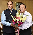 The Chief Minister of Himachal Pradesh, Shri Jai Ram Thakur meeting the Union Minister for Science & Technology, Earth Sciences and Environment, Forest & Climate Change, Dr. Harsh Vardhan, in New Delhi on July 17, 2018.JPG