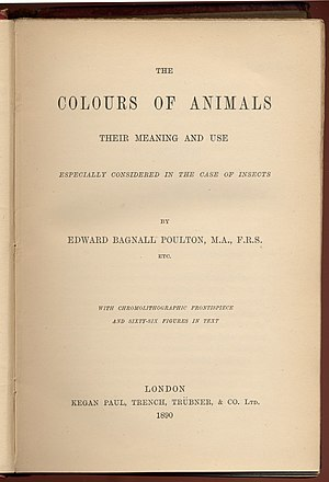Edward Bagnall Poulton - Title page of first edition of The Colours of Animals, 1890