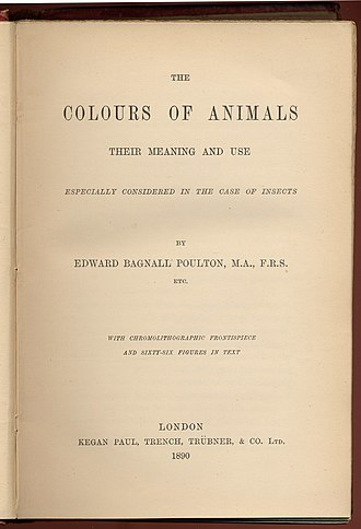 The Colours of Animals - Title page of first edition of The Colours of Animals, 1890